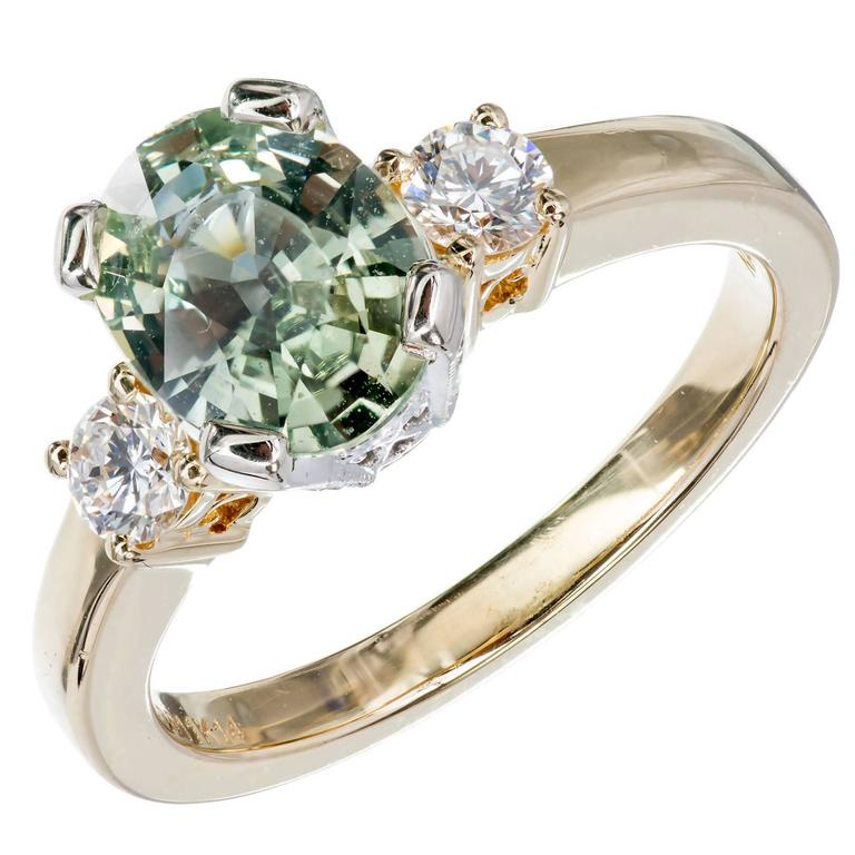 Green Sapphire Enement Ring | Natalie K Natural Green Sapphire Diamond Gold Three Stone Engagement