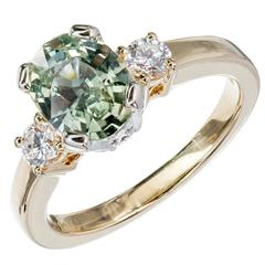 Natalie K Natural Green Sapphire Diamond Gold Three-Stone Engagement Ring