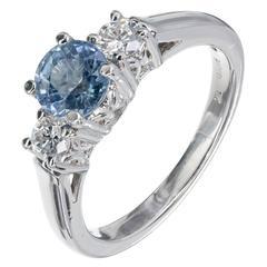Natural Light Blue Sapphire Diamond Platinum Three Stone Engagement Ring