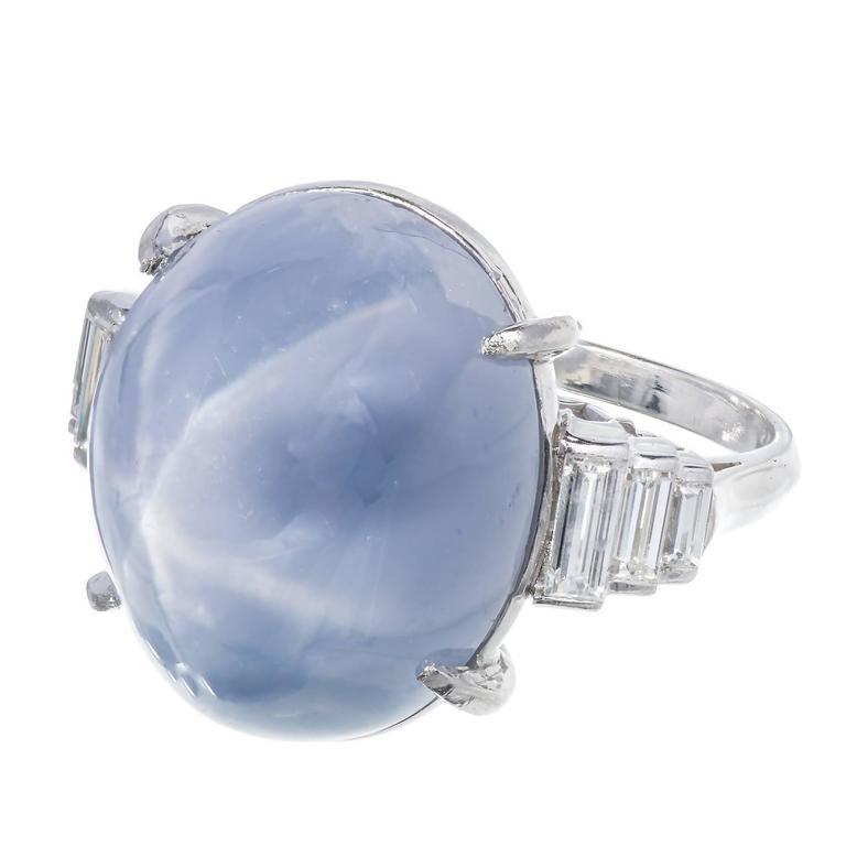 Art Deco Star Sapphire Baguette Diamond Platinum Domed Ring