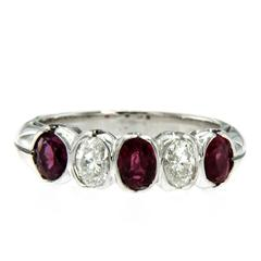 Ruby Diamond Gold Five Stone Ring