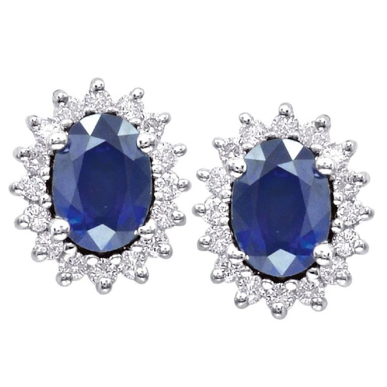 Oval Sapphire Diamond Gold Halo Stud Earrings