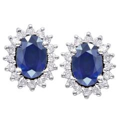 Oval Sapphire Diamond Gold Cluster Stud Earrings