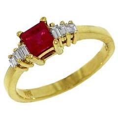 Square Cushion Ruby Diamond Gold Ring