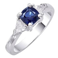 Trillion Diamonds Square Cushion Sapphire Ring