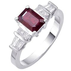 1.17 carat Emerald Cut Cushion Ruby Baguette Round Diamonds Ring