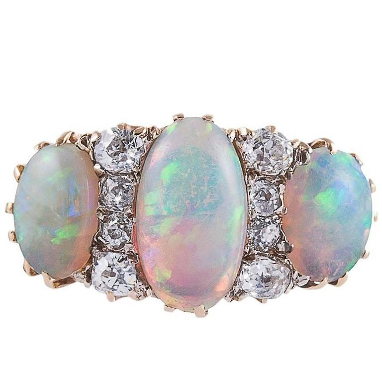 Items Similar To Opal Ring Exquisite Braided Opal: Victorian Three Stone Opal Diamond Gold Ring For Sale At