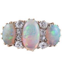 Victorian Three Stone Opal Diamond Gold Ring