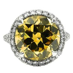 5.02 Carat GIA Fancy Brownish Yellow Diamond Platinum Frame Ring