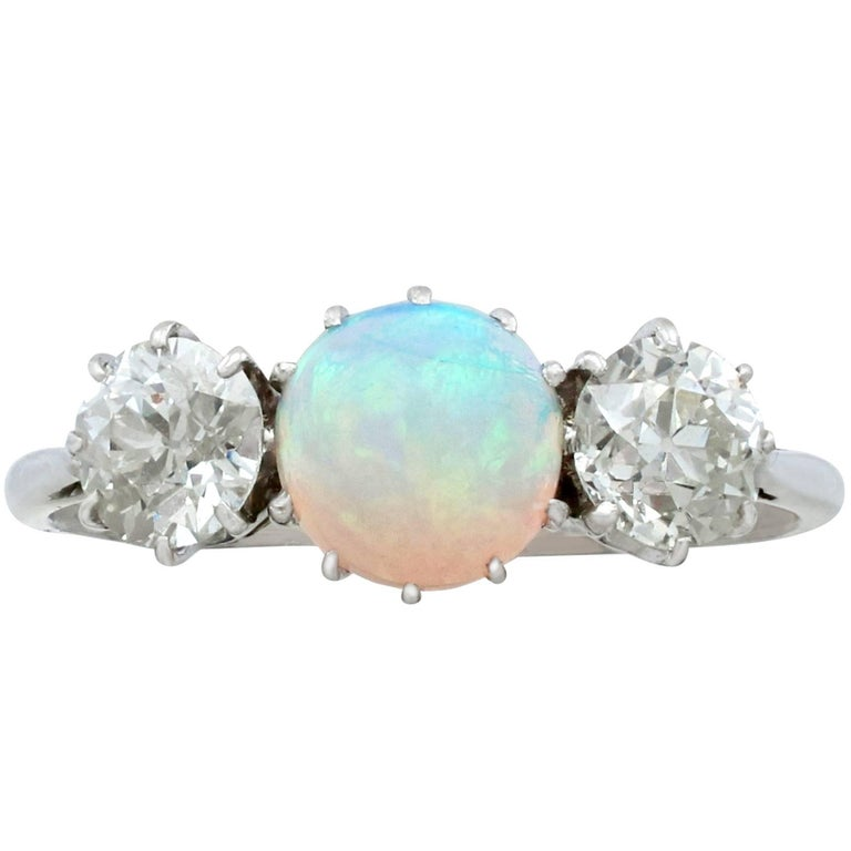 Antique Opal and 1.08 Carat Diamond Gold Trilogy Ring For Sale