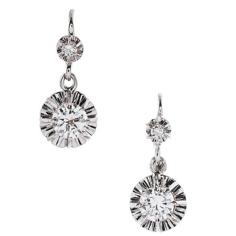 Antique Turn Of The Century French Double Diamond Gold Platinum Drop Earrings For