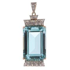 Aquamarine Diamond Two Color Gold Pendant