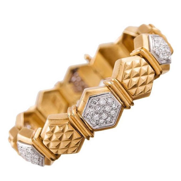 Hexagonal Diamond Gold Link Bracelet For Sale