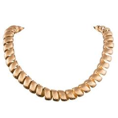 Reversible Twisted Golden Collar Necklace