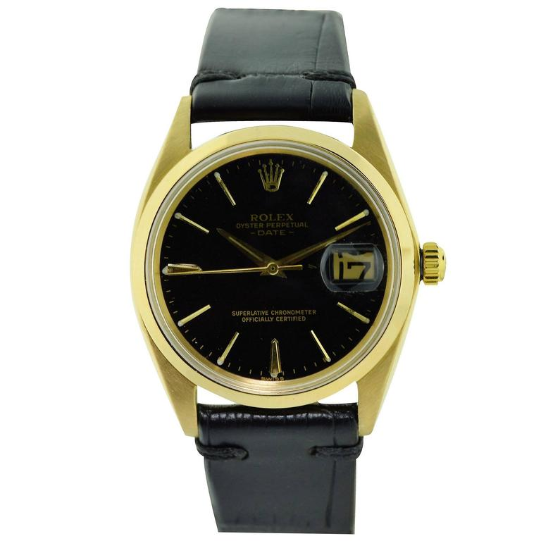 Rolex Yellow Gold Date Original Black Dial Perpetual Automatic Watch