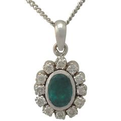 1.02 Carat Emerald and 0.48 Carat Diamond, 18 Carat White Gold Pendant