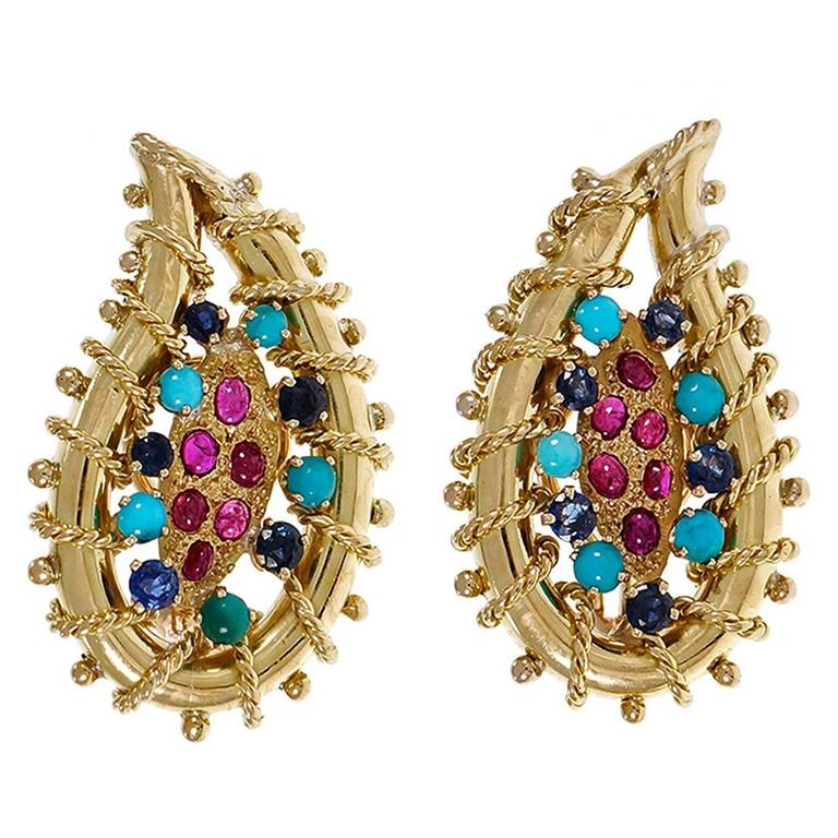 1950s Ruby Turquoise Sapphire Gold Clip Post Earrings  For Sale