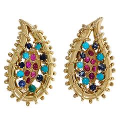 1950s Ruby Turquoise Sapphire Gold Clip Post Earrings