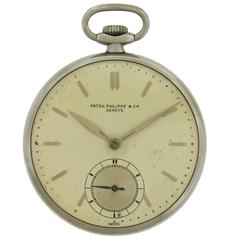 Patek Philippe Stainless Steel Slim Open Face manual wind Pocket Watch