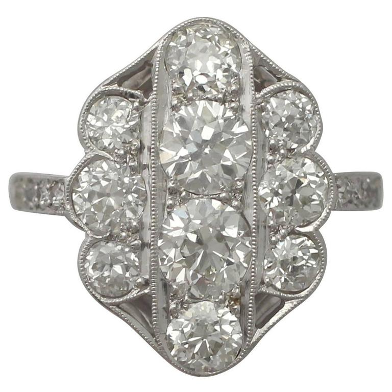 1940s 2.85 Carat Diamond Gold Cocktail Ring 1