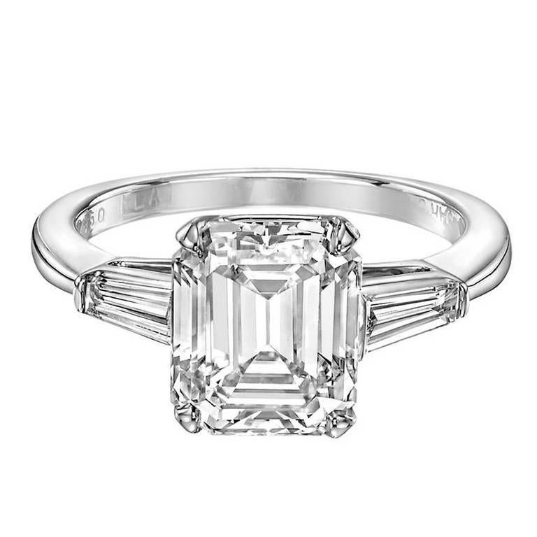 3 21 Carat GIA Emerald Cut Diamond Platinum Engagement Ring For Sale at 1stdibs