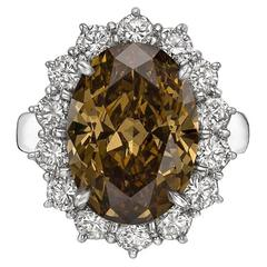 Fancy Deep 6.51 carat Yellow Brown Diamond platinum Cluster Ring