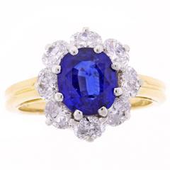 Oscar Heyman Oval sapphire Diamond Gold Platinum Cluster Ring