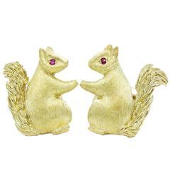 Gold Squirrel Cufflinks with Ruby Eyes
