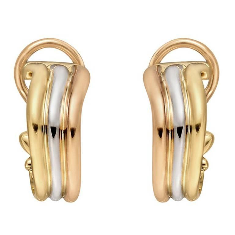 Cartier Tricolor Gold Trinity Hoop Earclips