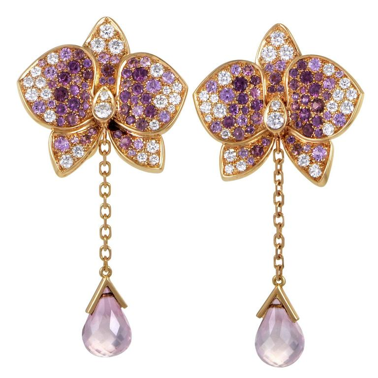 Cartier Caresse d'Orchidées par Cartier Diamond Gemstone Gold Earrings For Sale