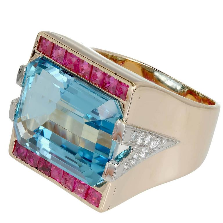15.83 Carat Natural Aquamarine Ruby Diamond Rose Gold Cocktail Ring For Sale