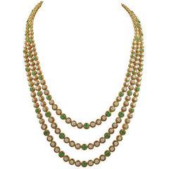Van Cleef & Arpels Emerald Diamond Gold Necklace