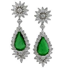 Emerald Diamond Gold Pendant Earrings