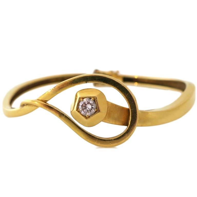 Gold and Diamond Nailhead Bracelet, circa 1970