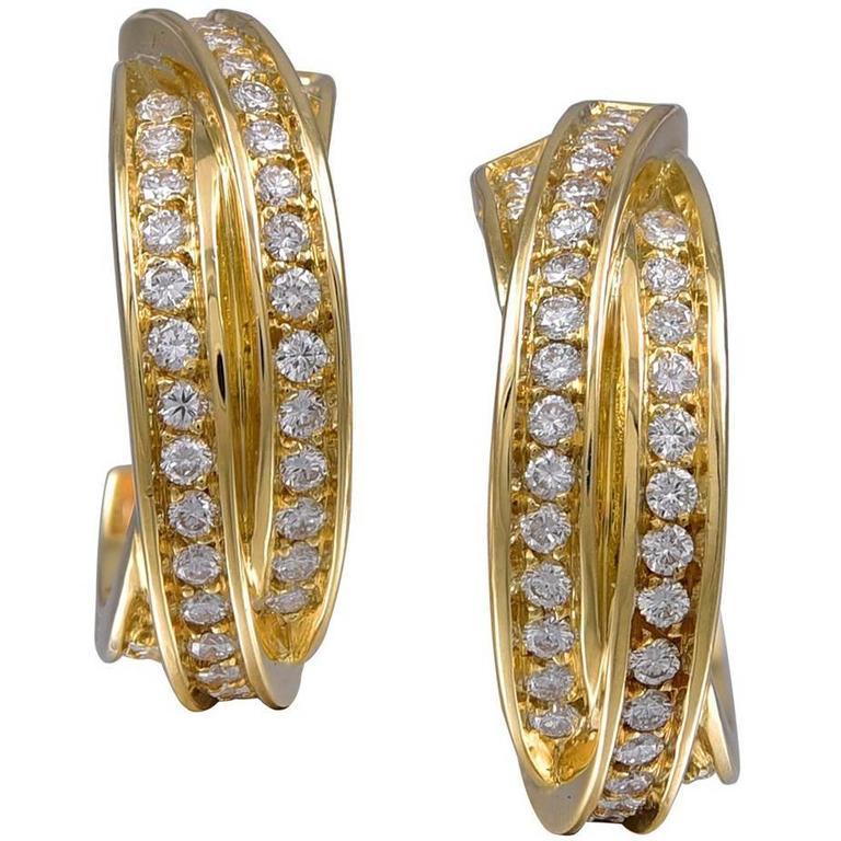 Cartier France Diamond Gold Earrings