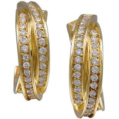 Cartier France Diamond Gold Earrings