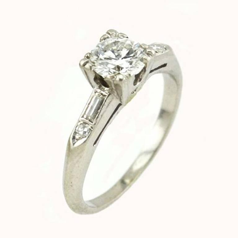 1940s 0.70 Carat Diamond Platinum Engagement Ring