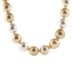 T. Foster & Co. White and Golden South Sea Pearl Necklace