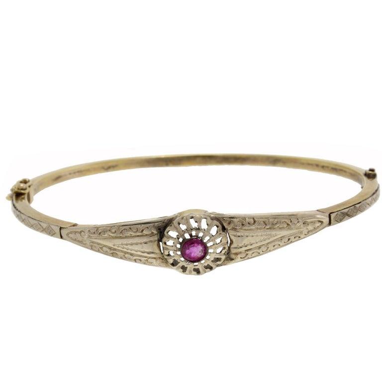 Ruby Gold Bracelet For Sale