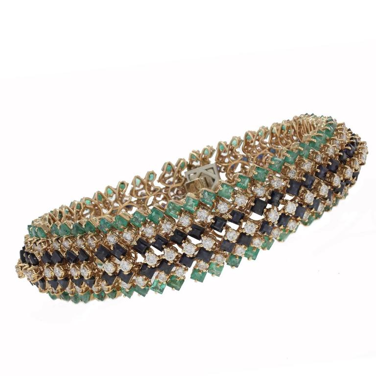 Emerald and Sapphire and Diamonds Gold Strands Bracelet For Sale