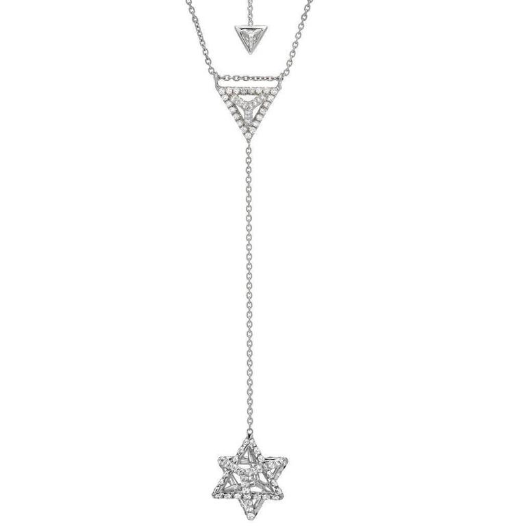 Star Of David Merkaba Diamond Platinum Drop Necklace