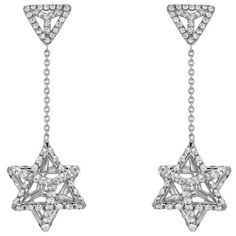 Merkaba Star of David Diamond Platinum Drop Earrings 1