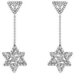 Merkaba Star of David Diamond Platinum Drop Earrings