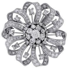 7.36 Carats GIA Old European Diamonds Platinum Pin