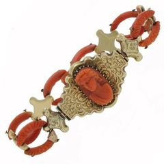 Luise Coral Cameo Gold Bracelet