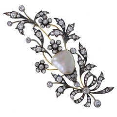 Antique Late Victorian Natural Pearl Diamond Silver Gold Brooch