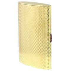1963 Asprey Solid Gold Cigarette Business Card Case with Ruby Thumbpiece