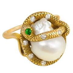 Antique Freshwater Pearl and Gemset Gold Serpent Ring