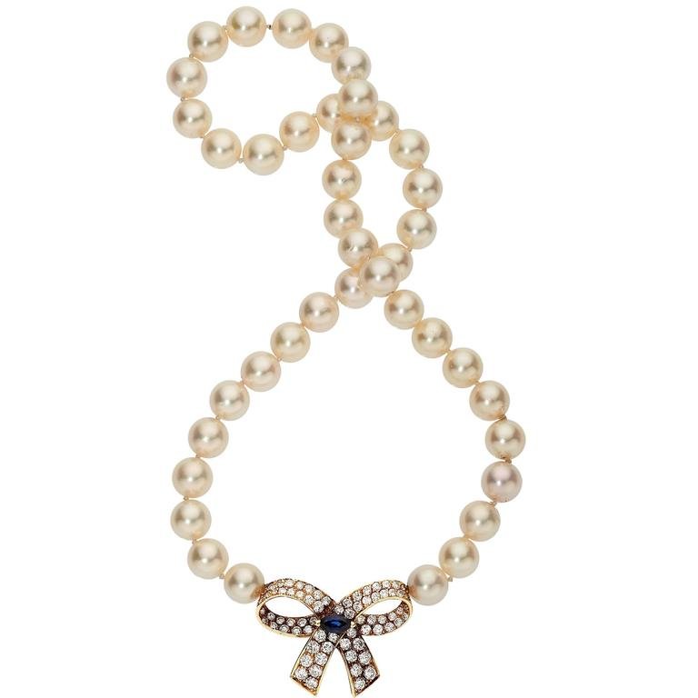 Van Cleef & Arpels Pearl Sapphire Diamond Gold Necklace