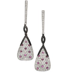 Eli Frei Ruby White & Black Diamond Gold Drop Earrings